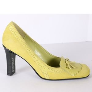 NINE WEST YELLOW SUEDE LOAFER PUMP SIZE 7.5M